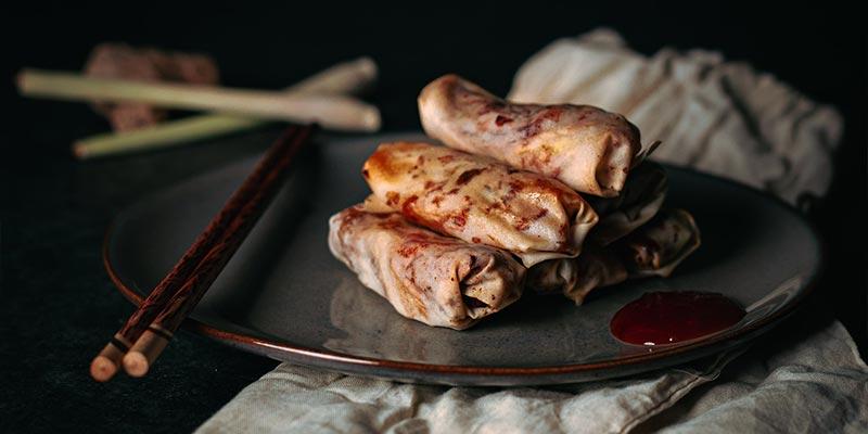 zelfgemaakte loempia food fotografie op mijn talloor